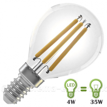 LED žiarovka  4W E14 mini globe filament WW