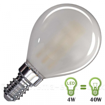 LED žiarovka  4W E14 mini globe filament matná WW